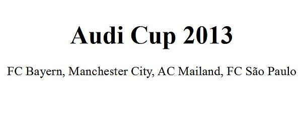 Der Audi Cup 2013 vom 31. Juli bis 1. August!